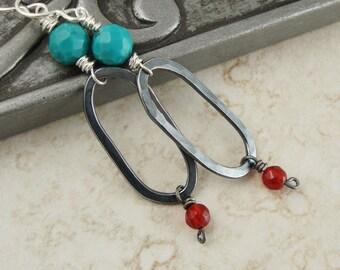 Sterling Silver Turquoise & Carnelian Gemstone Earrings - Turquoise Earrings - Gift under 50