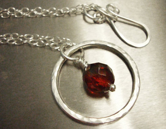Sterling Silver Eternity Necklace - Ruby Red Czech Glass - Handmade Jewelry - Valentines Day Gift