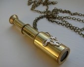 RESERVED for Catt: Steampunk-style collapsable telescope pendant with intricate silver detail and long chain