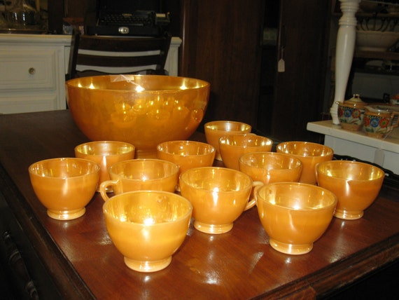 Vintage Peach Luster milk glass punch bowl with 12 matching cups