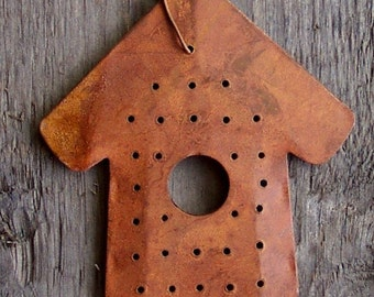 Rusty double layer birdhouse- 6 cm high