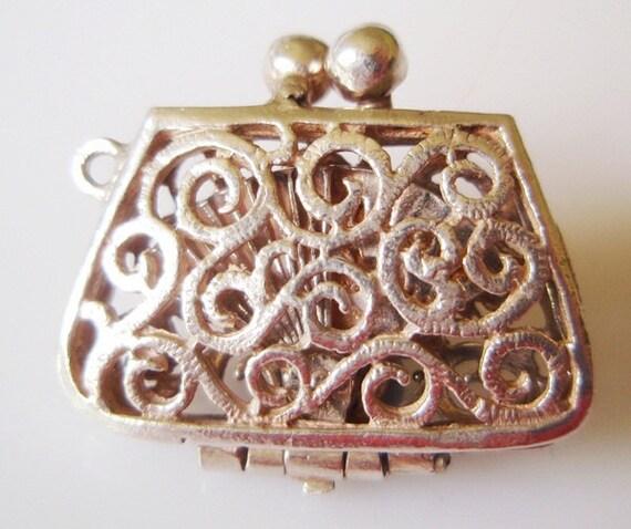 Vintage Silver Handbag Charm opens to an I LOVE YOU Fan