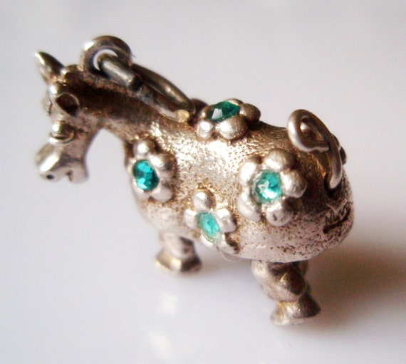 NUVO Gem Set Pantomime Horse Vintage Silver Charm Moves Rare