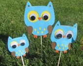 Owl Birthday Party Centerpiece Picks 3 pieces