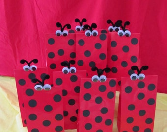 Ladybug Party Goody Bags RED 10 count