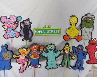 Sesame Street Characters Centerpiece Cake Topper  LARGE 10 Inch Picks Choose THREE characters