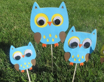 Owl Birthday Party Centerpiece Picks 3 pieces