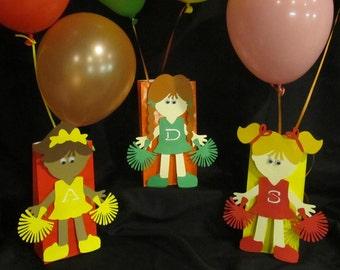 Cheerleading Birthday Party Centerpiece 3 piece set