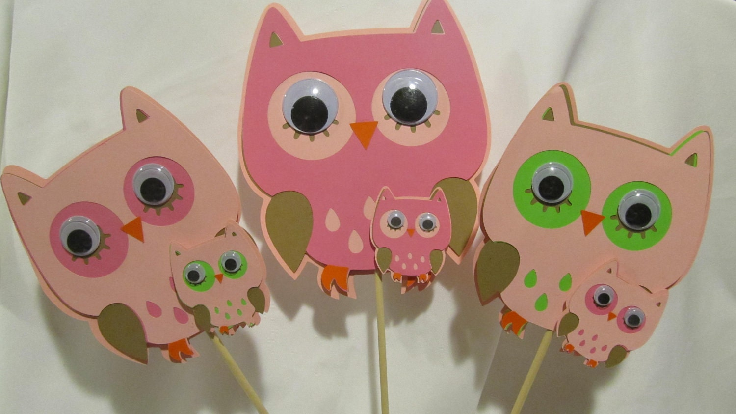 Owl baby shower centerpiece 3 piece set for Baby owl decoration
