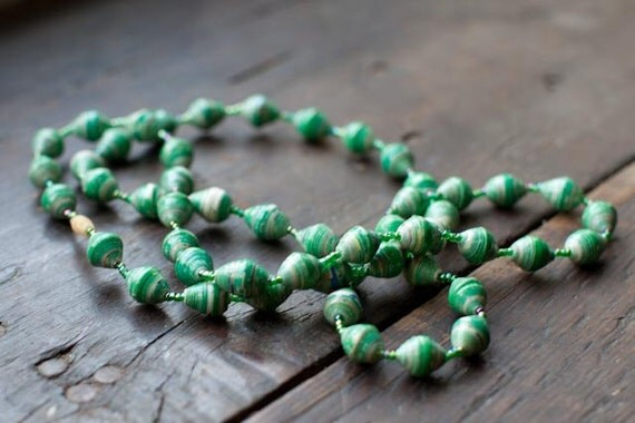 Sea Foam Necklace - Paper Beads to Benefit Adoption