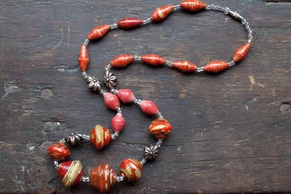 Kenyan Flames Necklace - Paper Beads to Benefit Adoption