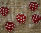 White Polka Dot Red Heart Lampwork Glass Bead/Pendant/Charm(Pack of 6 beads)
