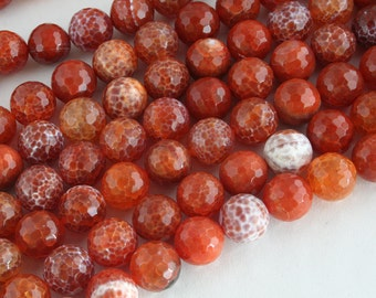 Natural Fire Agate 14mm Faceted Round Beads, 16-Inch Strand G01117