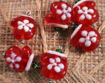 Christmas Mitten Lampwork Glass Bead/Pendant/Charm(Pack of 6 beads)