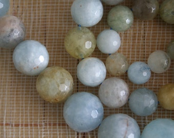 Natural Multi-Color Aquamarine 6mm -16mm Graduated Faceted Round Beads, 18-Inch Strand G01026