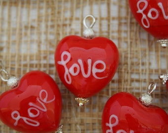 """White """"Love"""" Red Heart Lampwork Glass Bead/Pendant/Charm(Pack of 6 beads)"""