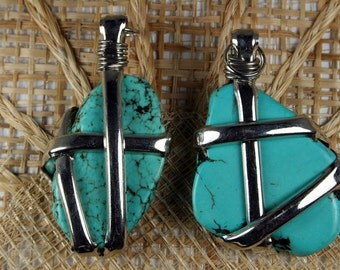 Howlite Irregular Shape Pendant(Color Treated) Copper Wired Silver Plated