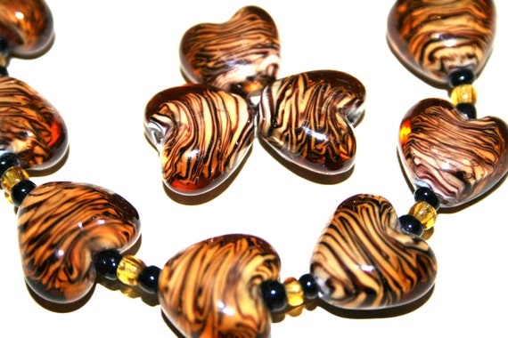 Tiger Stripe Animal Print Design Heart Lampwork  Glass Beads(12 beads pack) L10111