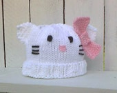 RESERVED Irihana BNR Prize  Kitty Baby Hat in size newborn to 3 months