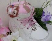 Baby Shoe PIncushion Shabby Chic Nursery Upcycled baby shoe