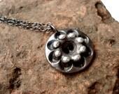 Vintage Futuristic Silver Cake Flower Button Necklace -- Oxidized Fine Silver 999 -- Adjustable