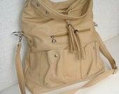 Large beige vegan leather messenger bag