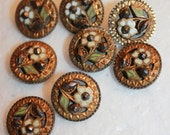 Art Nouveau French Lot of 8 Enamel Buttons Floral Accessories High Quality Rare Collectibles Personnalize Your Clothings