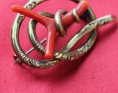 Antique Vermeil Sterling Brooch True Red Coral Small French Victorian Jewelry
