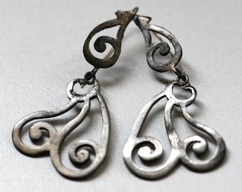 Antique Earrings Blackened Steel Earrings Pendant Earrings Long Earrings French Victorian Jewellery