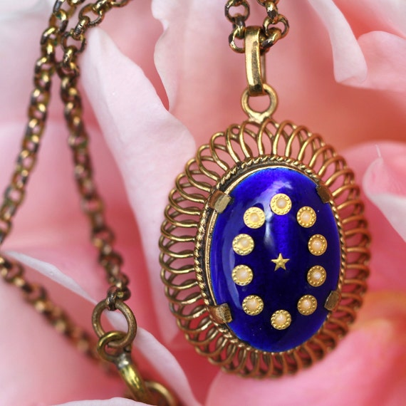RESERVED FOR JANEYJEWELRYBOX Vintage Pendant Necklace French Blue Enamel Golden Motif19th century Revival 50s Jewelry