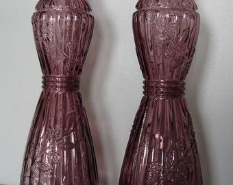 Vintage Tall Purple Glass Vase or Candle Holder