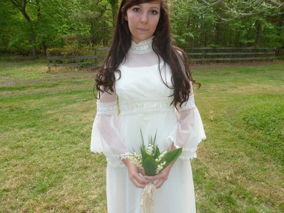 Reserved for Julie T Vintage Wedding Dress 60s Dotted Swiss Bell-Sleeves Hippie Boho Style