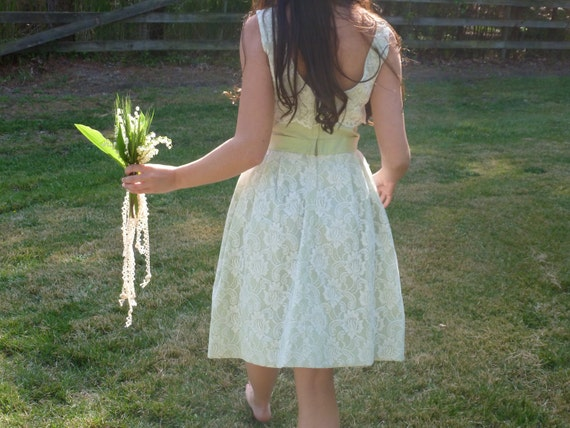 Vintage 60s Bridal Party Dress Taffeta and Lace