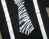 Zebra Tie and White Suspender Onesie or Tshirt
