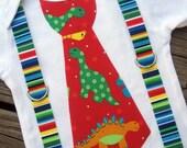 Dinosaur Tie with Stripe Suspenders Onesie or Tshirt
