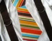 Striped Tie with Brown Suspender Onesie or Tshirt