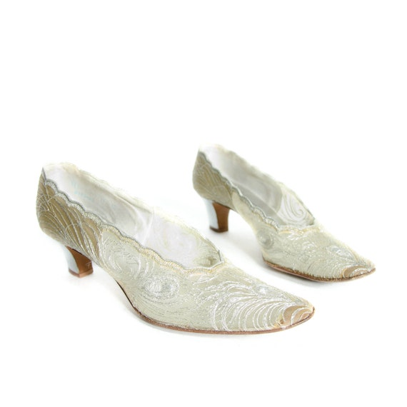 Vintage Silver Mesh Metallic Pumps by DeLiso Debs Perfect for Wedding  Shoes size 8 1/2 Narrow