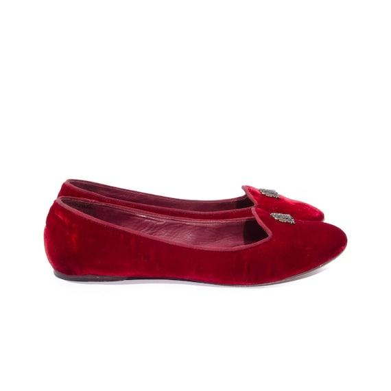 red velvet vintage ralph lauren ballet flats women 39 s shoe. Black Bedroom Furniture Sets. Home Design Ideas