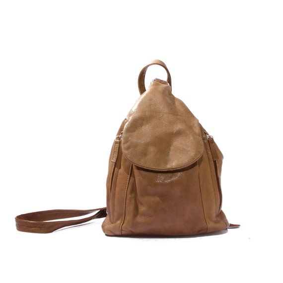 Small Brown Leather Backpack Carry All Women's Purse Hand Bag Unique Bag