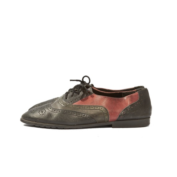Women's Brogue Oxfords Tri Color Perforated Leather Shoes size 7