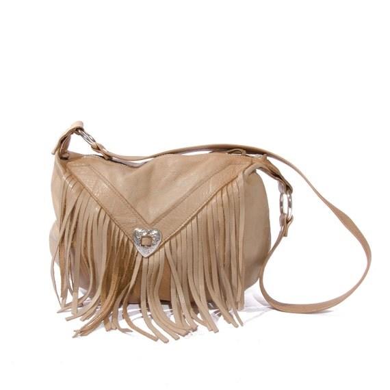 Light Brown Leather Fringe Purse Women's Walnut Shoulder Bag