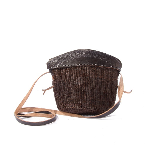 Small Sisal Purse Brown Tooled Leather Trim Mini Women's Purse