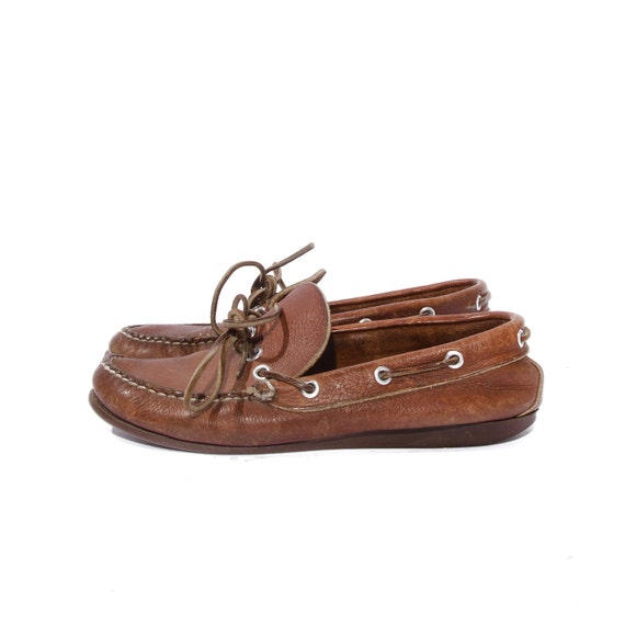 Baby Moccasin Shoes >> LL Bean Moccasin Boat Shoe Loafers Brown Leather size 7 1/2