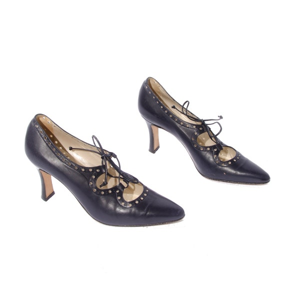 Vintage Brogue Ghillie Lace High Heels in Navy Blue by Bally size 7