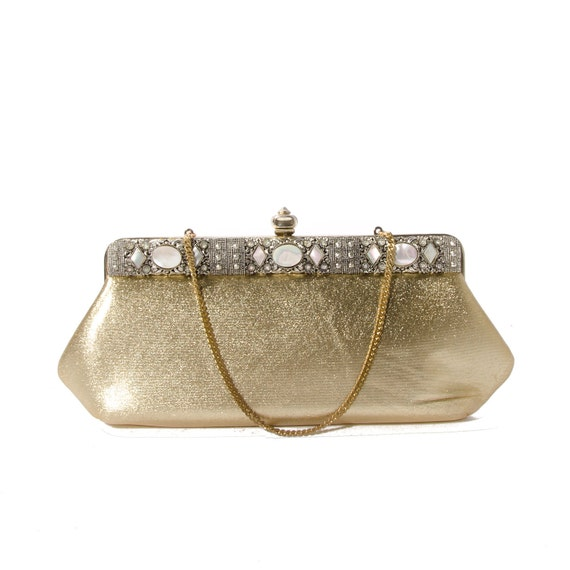 Glam Vintage Gold Clutch Handbag by Faye Mell Designs Ornate Detail