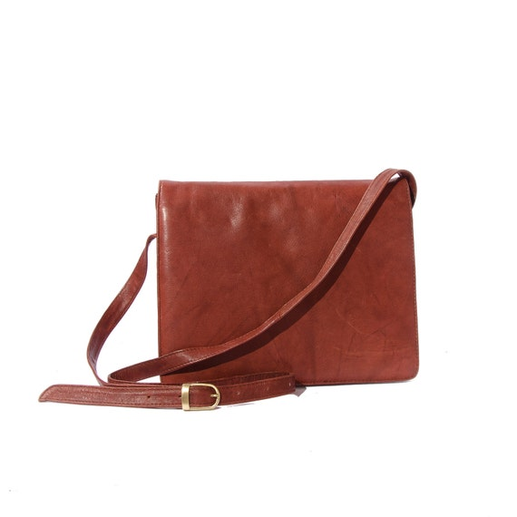 Extra Small Brown Leather Messenger Cross Body Bag / Good size for Nook