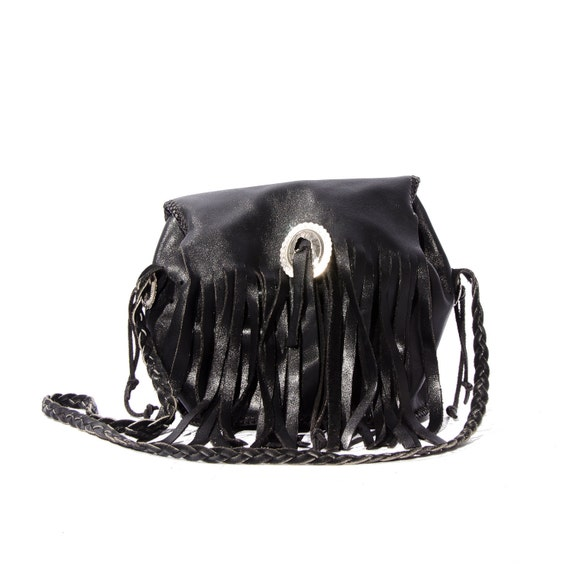 Small Black Leather Fringe Drawstring Purse Biker Chic Shoulder Bag 80s Fashion