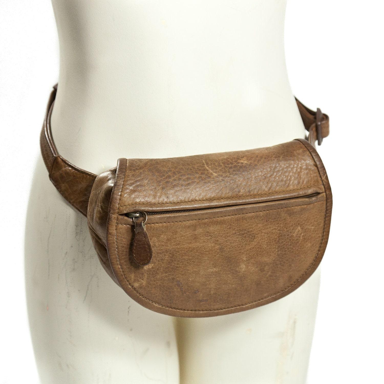 80s Brown Leather Fanny Pack Shoulder Bag By Wildrabbitvintage