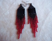 Black and Red Ombre Seed Bead Earrings.