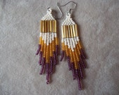 SALE: Purple, gold and ivory ombre seed bead earrings